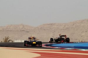 Sebastian+Vettel+of+Germany+and+Red+Bull+Racing+leads+from+Kimi+Raikkonen+of+Finland+and+Lotus+during+the+Bahrain+Formula+One+Grand+Prix+